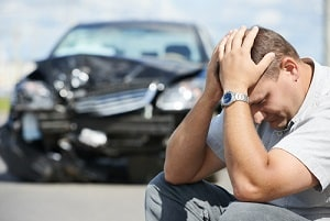 Man Worried in a Car Accident